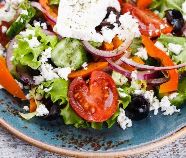 Greek salad , feta cheese.selective focus